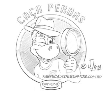 Logo Caça Perdas Danone logo dino danoninho jlima desenho mascote personagem mascot character design chapeu indiana jones lupa esboço lapis sketch 3